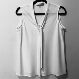 Kasper White Sleeveless Blouse | Size Small